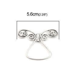 Antique Silver Angel (Fits 10mm Beads) 56mm x 43mm, 3 PCs