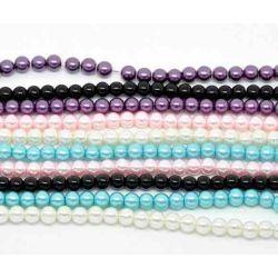Glass Pearls Mixed 6mm,  5 strands - Bulk Buy