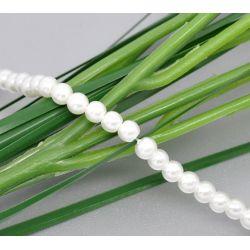 Glass Pearls White, 6mm,  5 strands - Bulk Buy