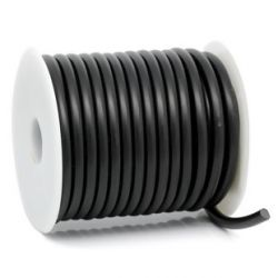 Rubber Tubing Solid 5mm, Black 10 metres