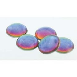 Cabochon Round 25mm, Backlit Petroleum, 2pcs  - Czech Glass