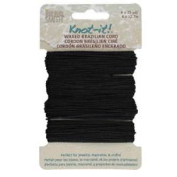 Knot it Waxed Poly Cord 2ply (1mm) - Black  4 x 13.7 metres