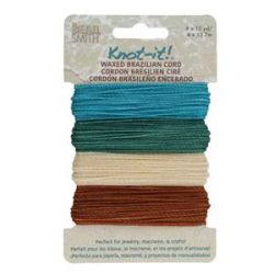 Knot it Waxed Poly Cord 2ply (1mm) - Beach N Sea  4 x 13.7 metres