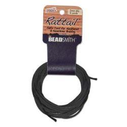 Rattail Satin Cord 2 mm Black, 6 Yards