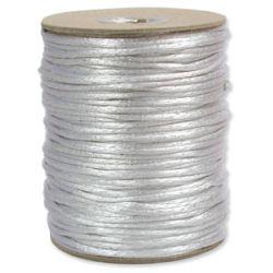 Rattail Satin Cord 3mm White Silver 4 metres