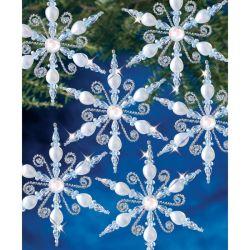 Beaded Christmas Kit - Light Sapphire Snowflake - Makes 6