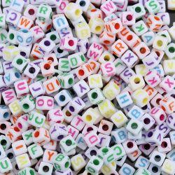 """Acrylic Mixed Alphabet/Letter """"A-Z"""" Cube Beads, 5 x 5mm, 500 pcs"""