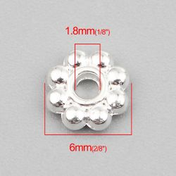 Flower Spacer Beads, Bright Silver Plated 6mm,  300 pcs