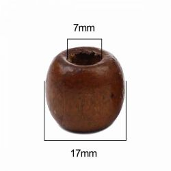 Wooden Beads Barrel, 17 x16mm, Brown, 200 pieces, (7mm hole)