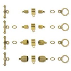 Kumihimo Findings Assorted Sizes Antique Brass Plate,