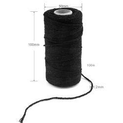 Cotton Cord, 2mm, Black, 100 metres