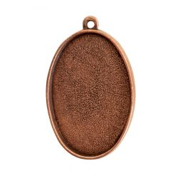 Oval Embroidery Kit - contains - Antique Copper pendant, tag and jumpring - 1 Set