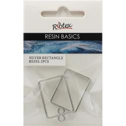 Open Back Bezel Frame Rectangle Design, 2pcs - For UV Resin