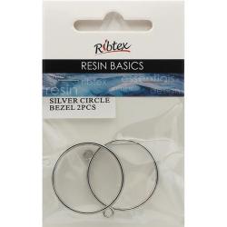 Open Back Bezel Frame Circle Design, Silver 2pcs - For UV Resin