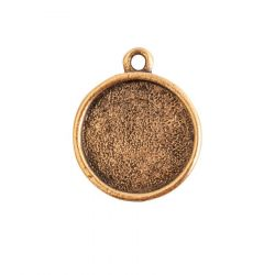 Mini Circle Embroidery Kit - contains - Antique Gold pendant, tag and jumpring - 1 Set