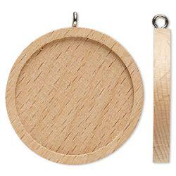 Wood Pendant Setting, Round, 35mm, fits 30mm, 8pcs