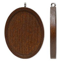 Wood Pendant Setting, Oval, 45x35mm, fits 40x30mm, 8pcs - Dark Brown