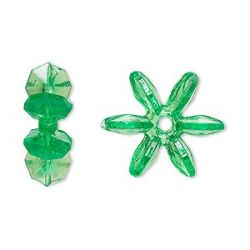 Acrylic Paddle Wheel/ Snowflake Beads, Transparent Green, 18 x7mm, 250pcs