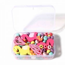 Wooden Beading Kit, Flamingo Design, comes with container