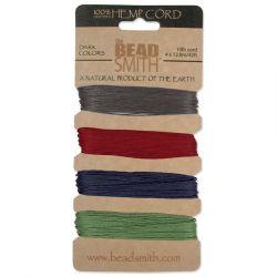 Hemp Cord 4 Colours .55mm Dark,  The Beadsmith
