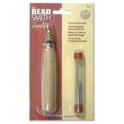 The Beadsmith 4 pc Bead Reamer Set,  4 interchangable diamond grit tips