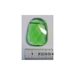 Faceted trapezoid shaped pendant Lab peridot, 30x40mm, 1pc