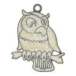 Blue Moon Bella Artiste Metal & Enamel Pendant, Owl,  1/Pkg 50x35mm