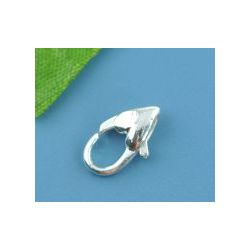 Silver Plated Lobster clasp Heart design, 12 x 7mm, 30pc