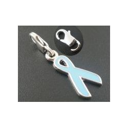 Clip on charm, Awareness Ribbon Charm,blue, silver plated, enamel, 29x 11mm, 1pc