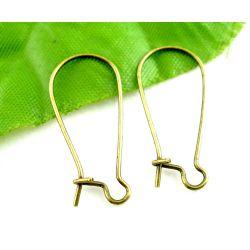 Antique Bronze Kidney Ear Wires,  24x11mm, 125 pairs