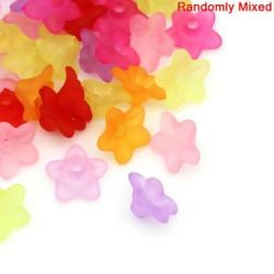 Acrylic Flower Frosted Beads, Mixed, 10x4mm, 800 pcs, WOW