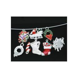 Silver Plated Enamel Christmas Mixed Charms,10pcs