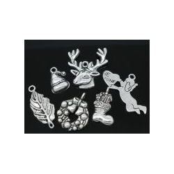Antique Silver Christmas Mixed Charms,30pcs
