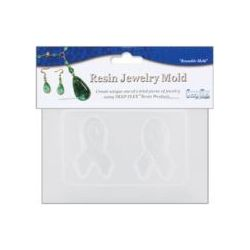 "Deep Flex Resin Jewelry Reusable Plastic Mold 3.5""X4.5, 2 Ribbons - could use for Awareness ribbon"