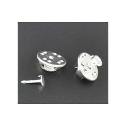 Tie Tac Pad & Tie Squeeze Clutch, silver plated, 11.5x6mm 4x1.2mm, 100 sets