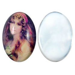 Cabochon Glass, Gypsy Design, 30 x 40mm, 1pc