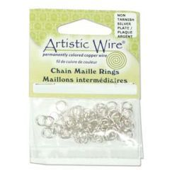 Artistic Wire Non Tarnish Silver, Jump Rings 18ga ID 5.56mm (7/32inch), 50pcs