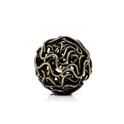 Antique Bronze Twisted Wire Ball Beads, 18mm, 20pcs