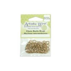 Artistic Wire Non Tarnish Brass Jump Rings 18 gauge, ID 3.57mm (9/64 inch), 110pcs