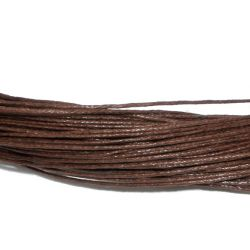 Waxed Cord, Brown, 1.mm, 80 metres