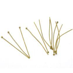 Ball Head Pins, Antique Bronze, 45mm x .7mm, approx 300pcs