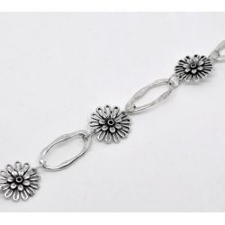 Antique Silver Flower Oval Chain Necklace, 16mm 23x13mm, 1 metre - Great Price!
