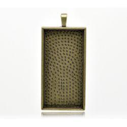 Antique Bronze Frame Settings 59x27mm (Fit 47x23mm), 5pcs - rectangle