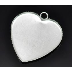 Silver Plate Frame Settings 28x26mm (Fit 25x23mm), 30pcs - Heart