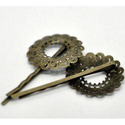 Antique Bronze Filigree Flower Bobby Pins Hair Clips 5.7x2.9cm, 20pcs