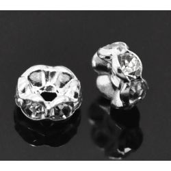 Silver Plated Rondelles Rhinestone Spacer Beads, 6mm 30pcs