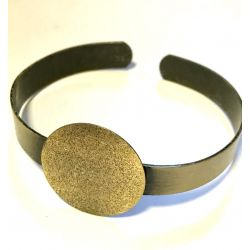 Antique Bronze, Bracelet Cuff, 60mm inner diameter, pad is 25mm wide,  1pc