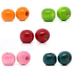 Wooden Beads Round, 10x9mm, Mixed, 500pcs