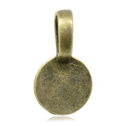 Antique Bronze Plate, Bail 18 x 10mm, Round glue on pendants  50pcs