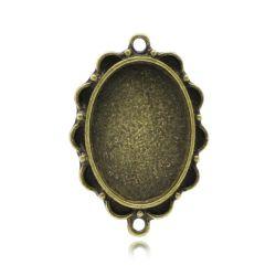 Antique Bronze Cameo Frame Settings Connectors 35x24mm(Fit 25x18mm), 10pcs